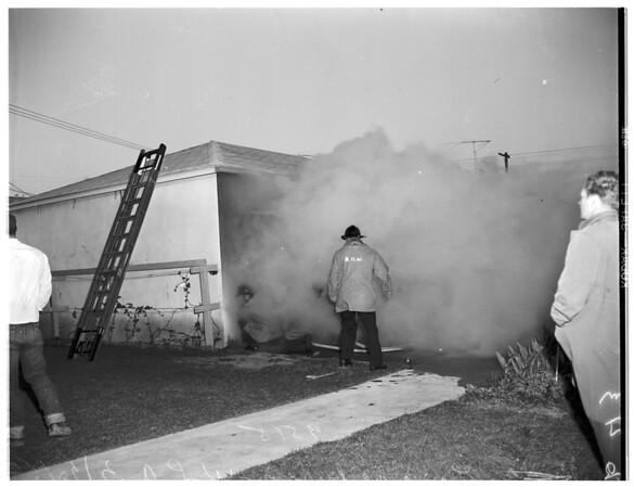 Garage burns...wind blows power line down...3770 Tilden Avenue, West Los Angeles, 1952