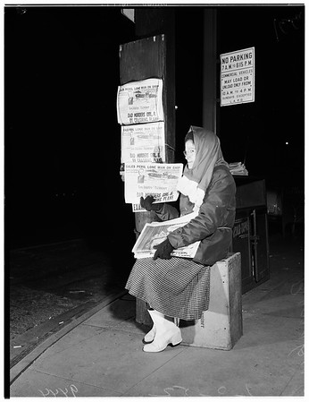 Cold weather pictures ...2nd Avenue and Figueroa Street, 1952