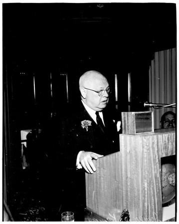 Rotary Club speaker, at Biltmore Hotel, 1952