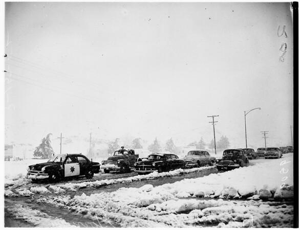Blizzard on Ridge Route, 1952