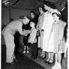 Medal Presentation...Fort MacArthur...awarded to children of dead Korea Veterans, 1951