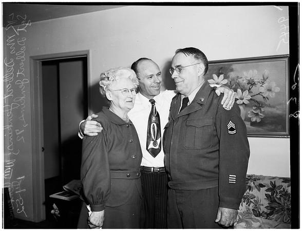 Oldest Sergeant returns from overseas, 1952
