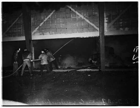 Furniture fire in Inglewood (800 Block of South La Brea), 1951