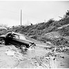 Car over embankment into Los Angeles River (Valley Heart Drive and Noble Avenue, Van Nuys), 1952