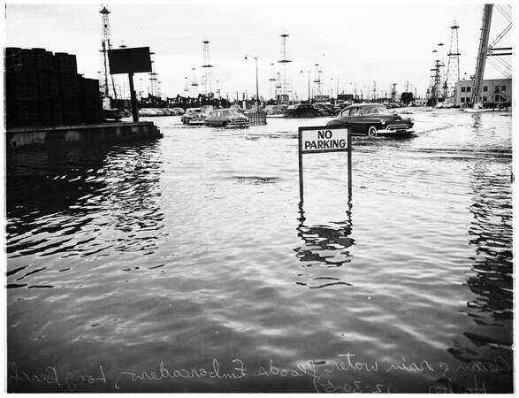 High tide flood (Long Beach Harbor), 1951