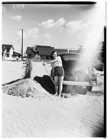 Sand drifts after windstorm, 1952