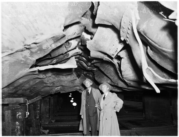 S. S. Winnipeg, French Liner, in drydock, with ripped bottom ...at Todd's Los Angeles Shipyards, San Pedro, 1951