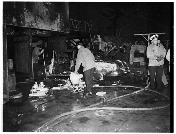 Fire at 8702 1/2 Rosewood Avenue, fire in garage, 1952