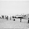 Plane crash (in belly landing on beach) Manhattan, 1952