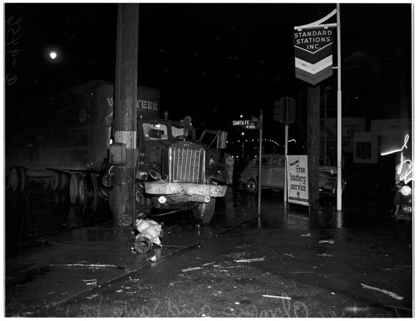 Auto versus truck accident, 1952