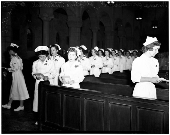 Nurses commencement at Saint Paul's Cathedral, Bishop Johnson College of Nursing of Good Samaritan Hospital, 1952