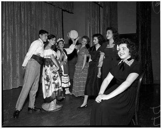 Foreign adjustment students perform at Berendo Junior High School, 1952