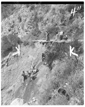 Mock rescue in Angeles National Forest, 1952