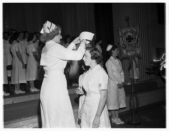 Nurses capping at Los Angeles General Hospital, 1952