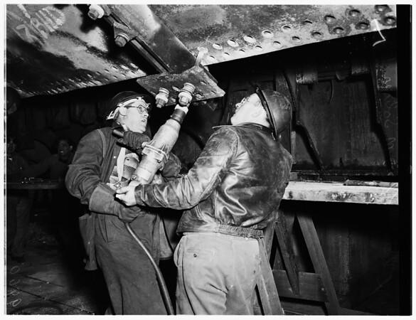 "French Line's Freighter ""Winnipeg"" (ship repair) $450,000 job, 1952"