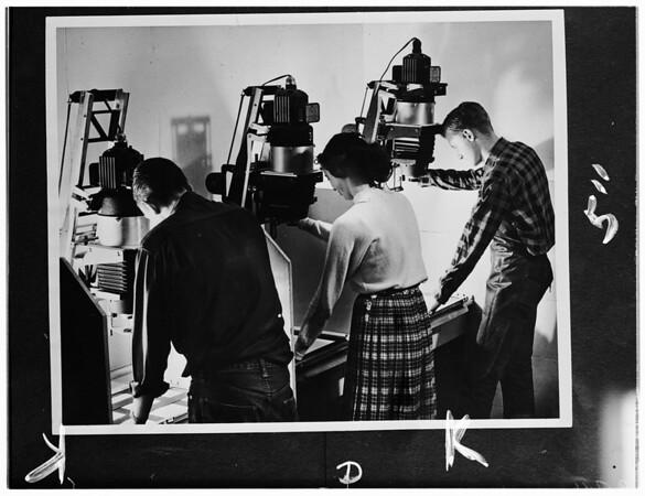 Photo Lab layout at John Muir College, Pasadena, 1952
