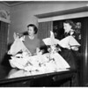 Henry Welch Guild of Loyola Officers with decorations for Yuletide supper, 1951