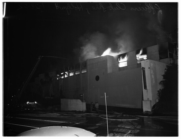 Officers Club fire on Sunset Strip in Hollywood, 1952