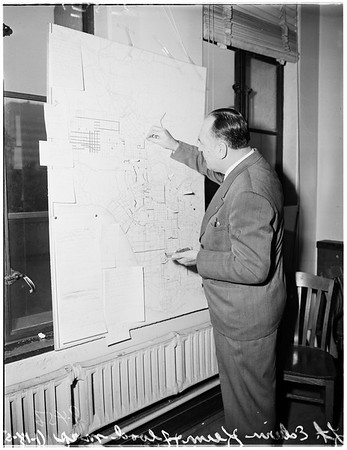Police department flood map, 1952