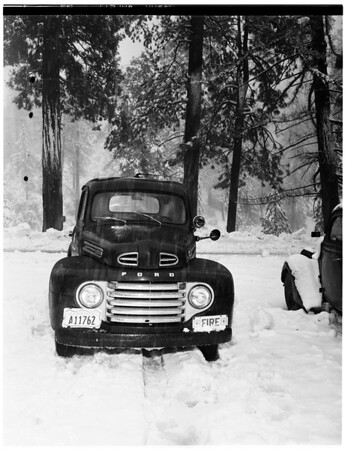 Snow at Newcomb's Ranch, near Chilao ...cabins half buried, 1952