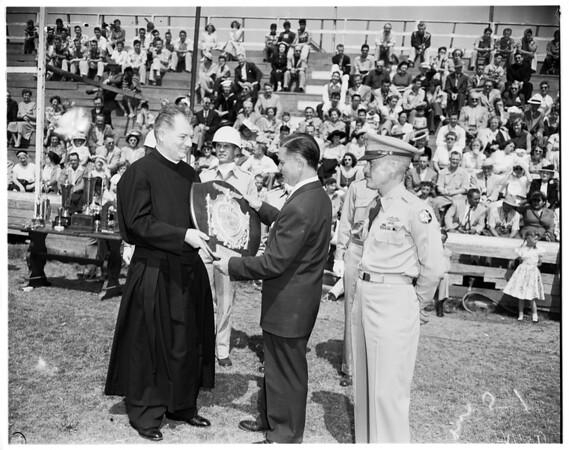 Hearst Rifle Awards at Awards Loyola Catholic High School, 1952