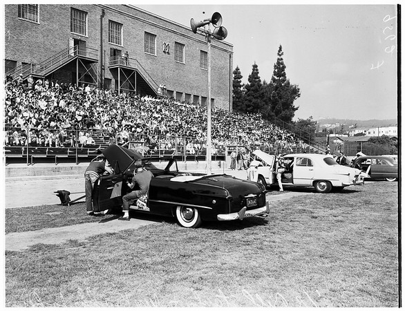 Hot rod show at Marshall High School, 1952