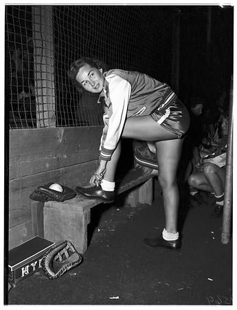 Women's softball game, Monterey Park, 1952.