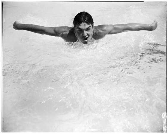 Whittier High School swimming meet, 1952