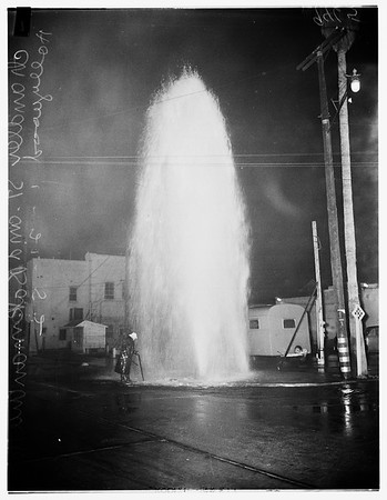 Hit and run on fire plug ...Chandler Street and Bakman Avenue, North Hollywood, 1952