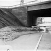 Mud slide under Santa Monica Boulevard bridge on Hollywood Freeway, near Western Avenue, 1952