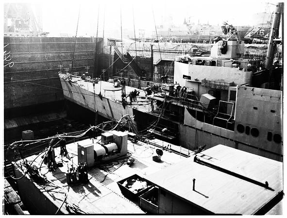 "USS ""Small"" new bow ...Long Beach Navy Shipyard (Terminal Island), 1952"