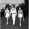 Tennis lessons at Beverly Wilshire Hotel, 1951