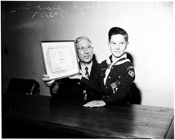 Lifesaving award  to cub scout, 1952