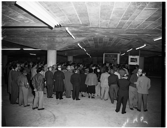 Pershing Square Park garage, 1952