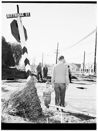 Post storm damage ...Artesia and Reseda ...Overall shot of Pioneer  Street School ...New bridge going up at Reseda Boulevard and Kitteridge Street, 1952