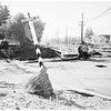 Post storm damage ...Artesia and Reseda ...Overall shot of Pioneer  Street School ...New bridge going up at Reseda Boulevard and Kitteridge Street, 1952