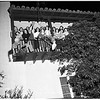 Girls at Kappa Kappa Gamma and Gamma Phi Beta Houses of University of California at Los Angeles set to repel possible panty raiders, 1952