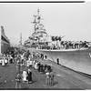 Arrival of USS Rochester, cruiser, San Pedro, 1952.
