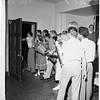 Girls at Kappa Kappa Gamma and Gamma Phi Beta Houses of University of California at Los Angeles set to repel possible panty raiders, 1952