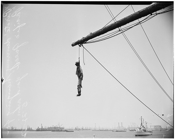 """City snubs old sailing ship (""""Pacific Queen""""), 1952"""