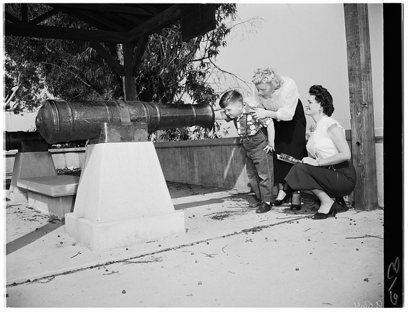 Montebello landmark ...Cannon at site of Battle of Rio San Gabriel, 1952.