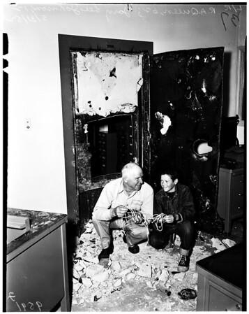 Vault safe blowing ... Inglewood park Cemetery, 1952