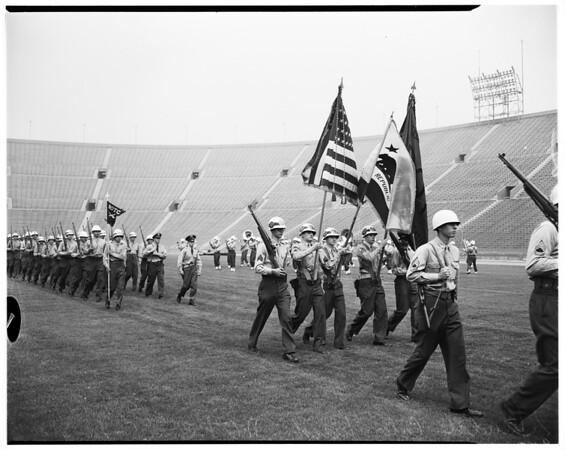 ROTC competition at Los Angeles Memorial Coliseum, 1952.