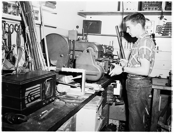 Pasadena boy on leave from Navy works with electronics, 1952.