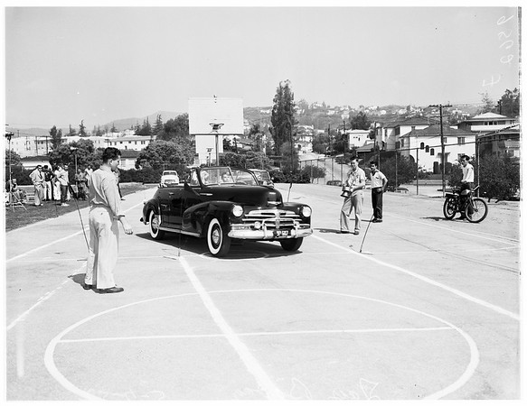 Hot rod show at Marshall High School, 1952