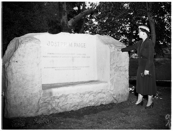 Pomona Landmark, Memorial to Joseph M. Paige, 1952