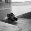 Truck in Los Angeles River (between the 6th Street and 7th Street bridges), 1952