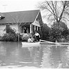 Flooded street, Walnut Street and Skabo Avenue, Los Nietos ...Water up to doorsteps of homes, 1952