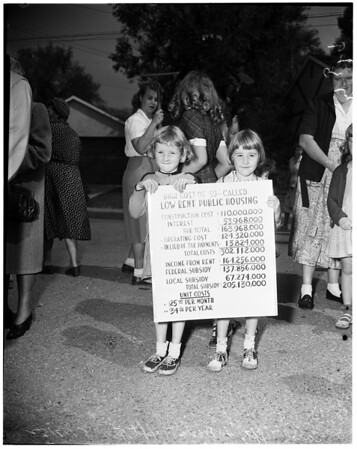 Children join housing demonstration -- El Sereno District, 1952