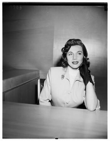 Lorraine Cugat divorce, 1952
